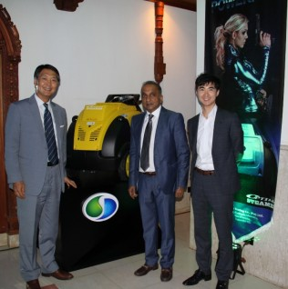 CAPTION FOR PHOTO - Ambassador of the Republic of Korea in Sri Lanka His Excellency Won-sam Chang, Chairman / Managing Director of Tudawe Trading Mr. Wasantha Tudawe and Business Development Manager of SJE Corporation of Korea Mr. Tom Kim at the launch.