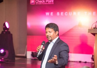 Bhaskar Bakthavatsalu, Regional Director for India and SAARC of Check Point Software Technologies addresses participants at the launch in Colombo.