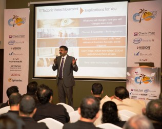 Shalil Gupta, Associate Vice President Insights and Consulting (IDC) giving the keynote speech at the SAT CIO forum